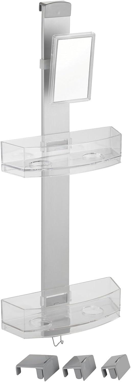 Badregal Wenko Duschcaddy Premium mit Antibeschlagspiegel silber matt Duschregal mit 2 Ablagen und Haken 25 x 71 x 10,5 cm