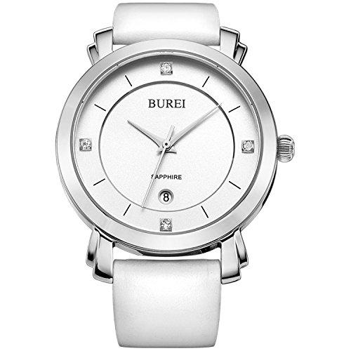 (BUREI Women's Watch Analog Quartz Date with White Leather Band)