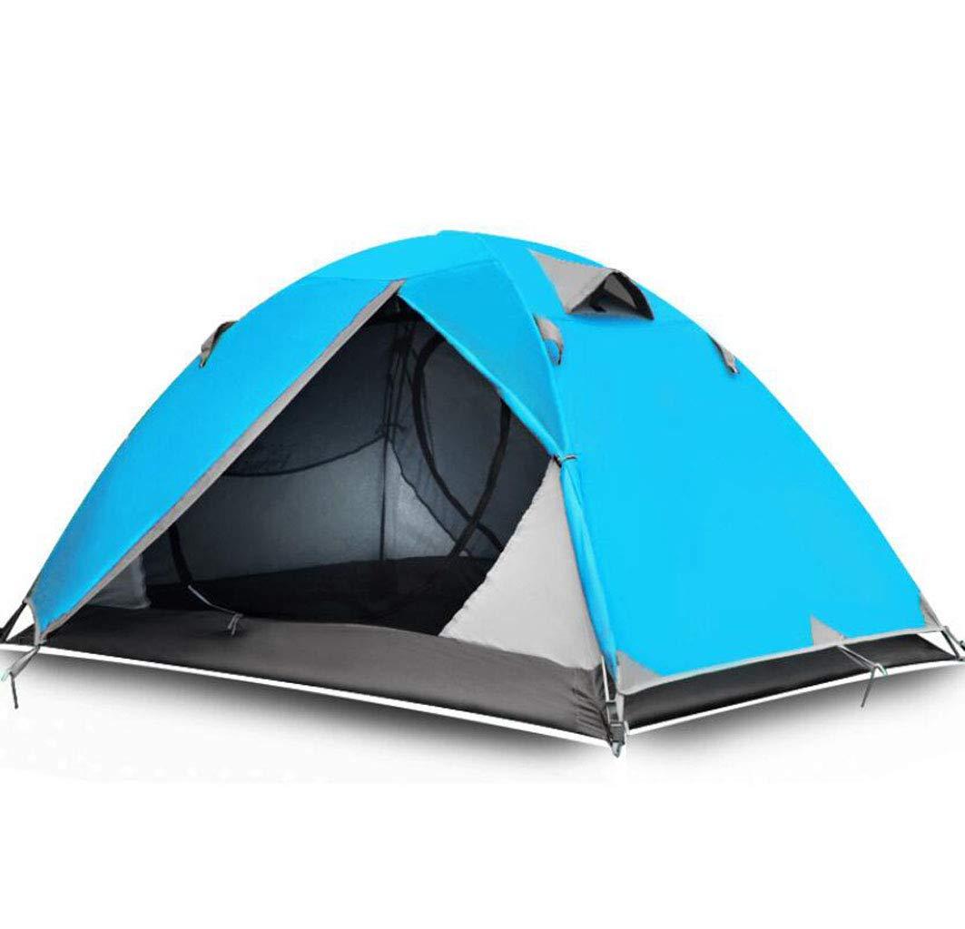 JBHURF Outdoor Supplies Doppel Camping Zelt Anti-Regen Professionelle Bergsteigerausrüstung Zelt (Farbe : Blau)