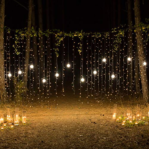Baocicco 10x10ft Rustic Style Wedding Backdrop Twinkle Lights Natural Green Grass Decoration Arch Fairy Lights Candles Photography Background Wedding Engagement Ceremony Lover Portrait Studio