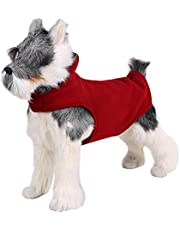FOREYY Reflective Dog Fleece Coat with Leash Attachment Hole, Dogs Pet Autumn Winter Jacket Sweater Vest Apparel Clothes for Small Medium and Large Dogs(Red,L)