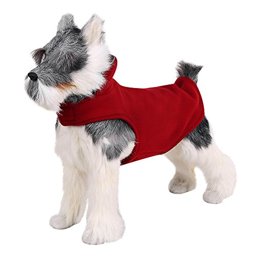 FOREYY Reflective Dog Fleece Coat with Velcro Closure and Leash Attachment Hole - Dogs Pet Autumn Winter Jacket Sweater Vest Apparel Clothes for Small Medium and Large Dogs(Red - S)