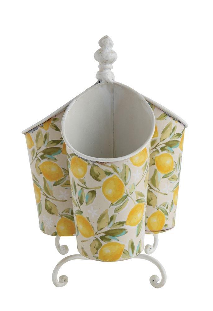 Heart of America Tin Utensil Holder With Lemons - 2 Pieces