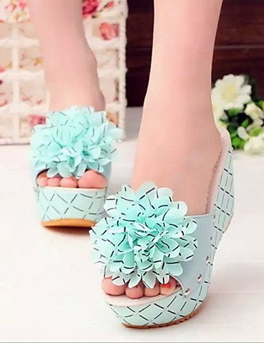 ShangYi Women's Shoes Leatherette Platform Platform / Creepers Sandals Office & Career / Dress / Casual Blue J0pPE