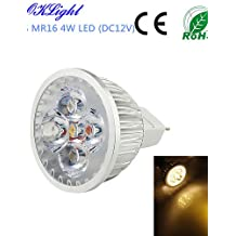 ZQ Mini light bulbs 1PCS MR16 4W 320lm 3000K 4-High Power LED Warm White Light Spotlight - Silver(DC12V)