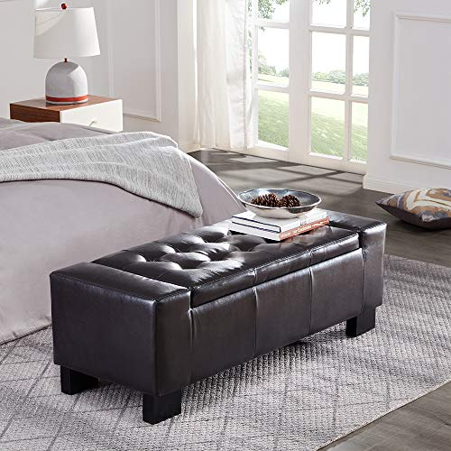 """Belleze 51""""-inch Storage Ottoman Bench Faux Leather Rectangular Tufted Large, Brown"""