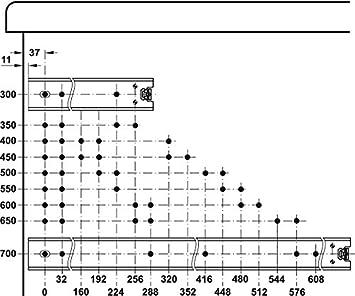 Teleskopschienen /Überauszug mit Winkel f/ür aufliegende Bodenmontage 1 Paar Ausz/üge mit Rastung in geschlossener Position Schubladenschiene Kugelf/ührung ACCURIDE 3301-60 Vollauszug 500 mm