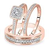 Smjewels 1/2 Carat T.W. Round Cut Diamond Matching Trio Wedding Ring Set 14K Rose Gold Fn