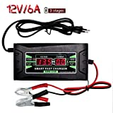 12V Sealed Lead Acid Battery Charger, 6A Maintainer Three Trickle Charger with LED