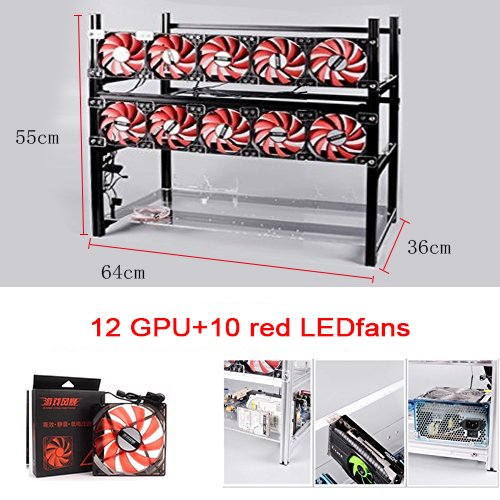 12 GPU Miner Case With 10 Red Fans, Aluminum Stackable Mining Rig Open Air Frame For Ethereum(ETH)/ETC/ ZCash Ethereum,Bitcoin,Cryptocurrency and Altcoins to improve GPU