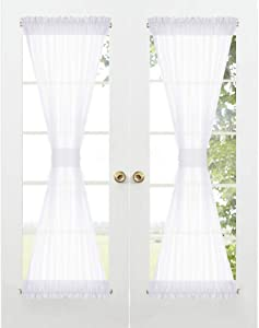 RYB HOME Sidelight Curtain for Door - Sheer Door Curtains Privacy Entry Door Window Treatments Curtains Kitchen, Light Diffused Privacy Protect Voile Drape, Tieback Included, 60 x 72, 1 Piece, White