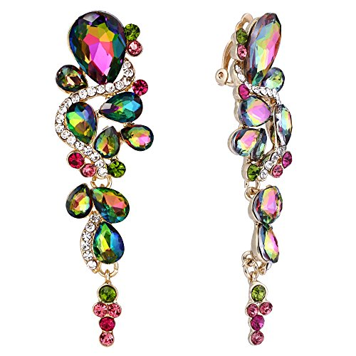 BriLove Wedding Bridal Clip On Earrings for Women Bohemian Boho Crystal Multiple Teardrop Chandelier Dangle Earrings Vitrail Medium Gold-Toned