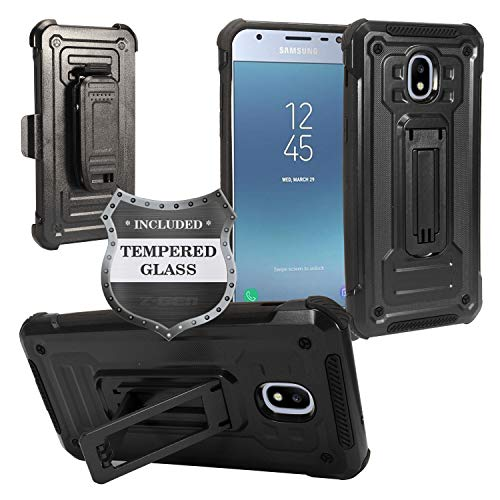 For Samsung Galaxy J3 (2018), J3 Achieve, J3 Star, Sol 3, Express Prime 3, Amp Prime 3, J3 V J3V 3rd Gen J337 - Holster Case w/Stand/Belt Clip + Tempered Glass Screen Protector - Black