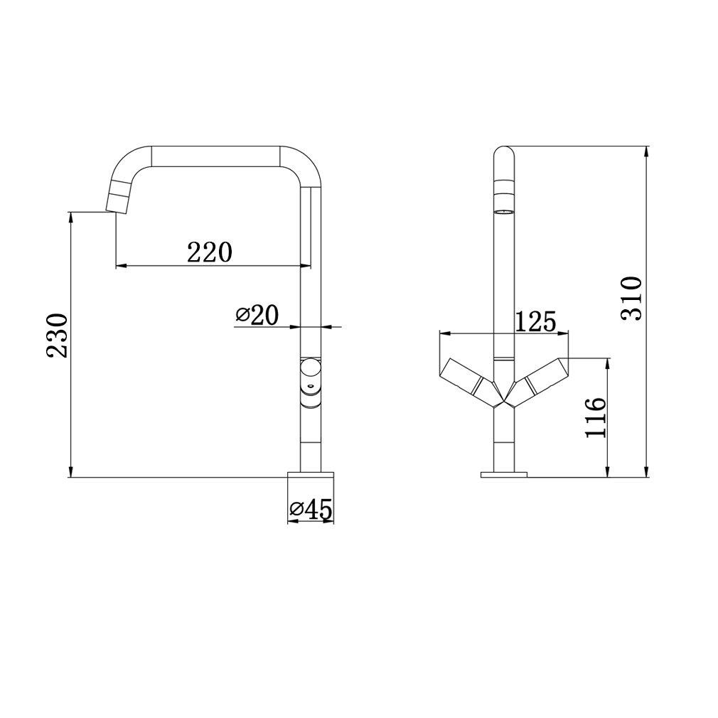 HAOXIN Robinet de Cuisine Double Lever Moderne Design Robinetterie Rotatif /à 360/° Robinet Pour /évier Chaud et Froid M201074