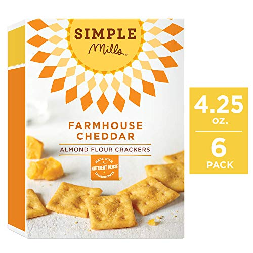 Simple Mills Almond Flour Crackers, Farmhouse Cheddar, 4.25 Ounce (Pack of 6)