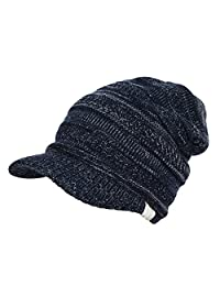 MIOIM Womens Winter Knitted Hats Slouchy Baggy Beret Newsboy Ski Cap With Visor