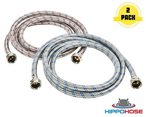 2 Pack Washer Hose Stainless Steel Burst Proof Anti-Rust Washing Machine Hose for Hot and Cold Water Supply 4 Feet Long