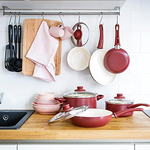 GreenLife Soft Grip 16pc Ceramic Non-Stick Cookware Set, Burgundy