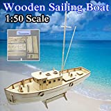 Aissimio 1:50 Wooden Ship Models DIY Ship Model kit Boat Ships Kits Sail Boat Wooden Model Kit Toy
