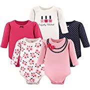 Little Treasure Baby Infant Cotton Bodysuits, Polished 5Pk Long Sleeve, 3-6 Months
