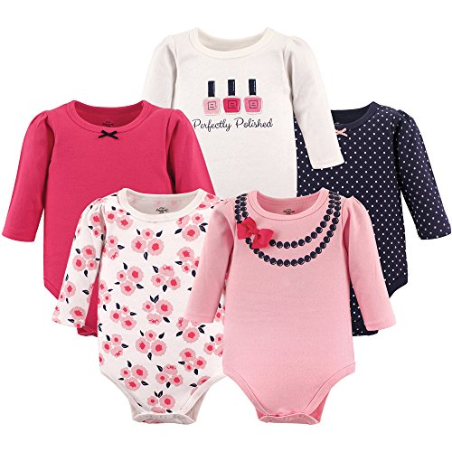 Little Treasure Baby Cotton Bodysuits, Bow Necklace 5-Pack Long-Sleeve, 6-9 Months (9M)