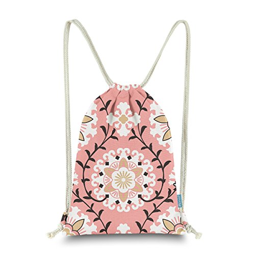 - Miomao Drawstring Backpack Bag Gym Sack Pack Dahlia Floral Style Canvas String Bag Cinch Pack Gift Bags, Coral Pink