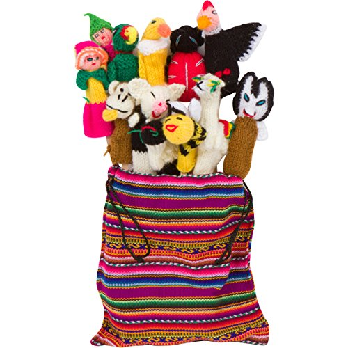 Deluxe Set of 12 Artisan Made Peruvian Finger Puppets with Free Handmade Drawstring Bag - Variety of Cute Figures from South America - Great for Children, Teachers, Shows, Playtime, Schools