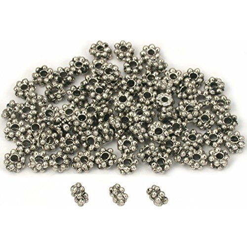 - Daisy Bali Spacer Beads Antq Silver Plt 5mm Approx 80