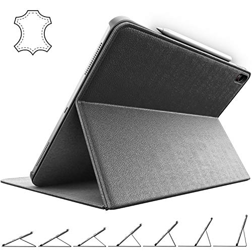 iPad Pro 11 Case in Genuine Leather | 2018 Cover with Apple Pencil Magnetic Holder, Secure Multi-Angle Stand and Corner Protection, by Cuvr | Best for 11-inch Model (Black)