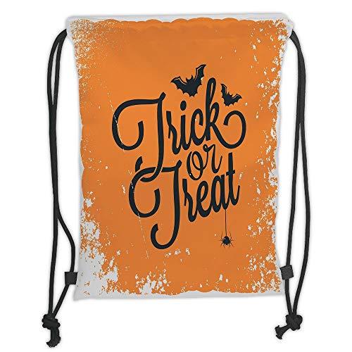 Custom Printed Drawstring Sack Backpacks Bags,Vintage Halloween,Trick or Treat Halloween Theme Celebration Image Bats Tainted Backdrop Decorative,Orange Black Soft Satin,5 Liter Capacity,Adjustable St ()