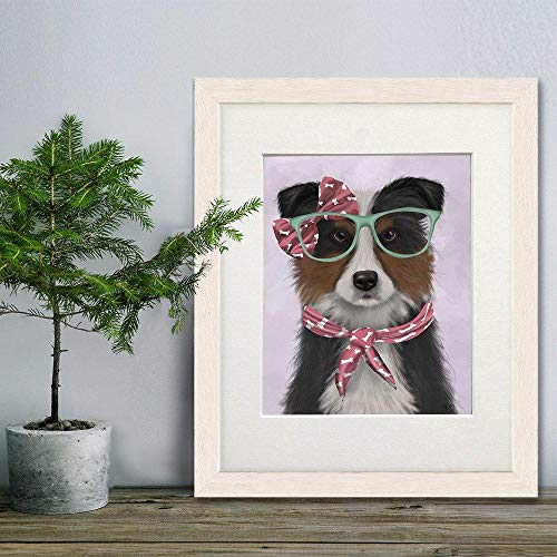 Border Collie Art - Border Collie Tricolor with Glasses and Scarf - Scottish Sheepdog Collie Print Girlfriend Girls Pink Room Frame