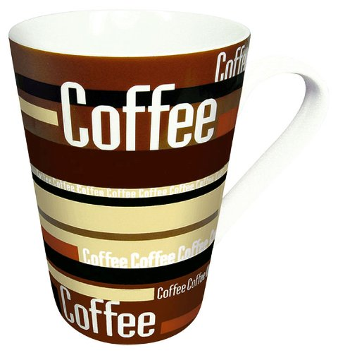 Konitz Coffee Stripes 13-Ounce Mugs, Set of 2, Brown