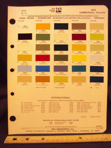 1970 FORD Truck, Econoline Van (Standard Club, Custom Club, Chateau), & Bronco Paint Colors Chip Page