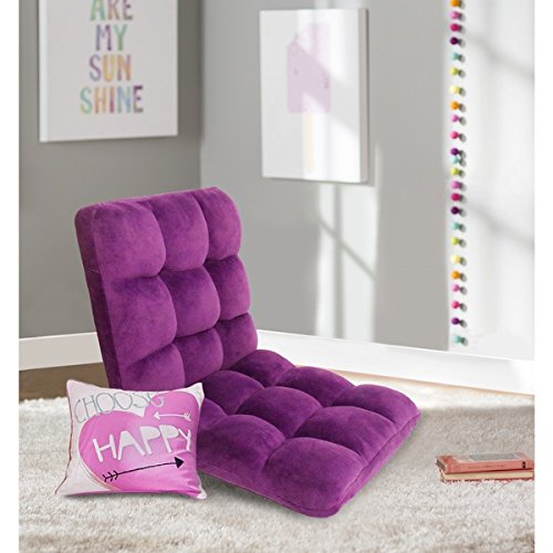NEW 5 Position Adjustable Padded Memory Foam Floor Micro Plush Cushioned Gaming Chair, Purple