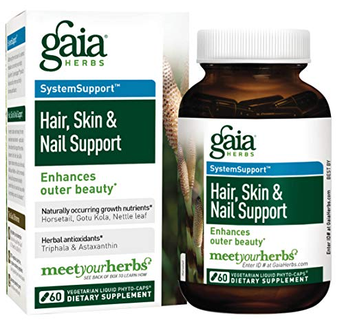 Gaia Herbs Hair, Skin and Nail Support Liquid Phyto-Capsules, 60 Count