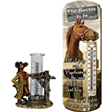 GIFT FOR HORSELOVERS RIVERS EDGE RAIN GAUGE AND THERMOMETER