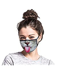 Funny Reusable Cotton Earloop Half Face Dust Proof Mouth Covers Elastic Ear Loops Face Mouth Outdoor Cloth Face Caps Headband Bandana - Outdoors Headwear, Scarf Bandanna