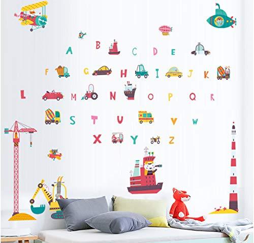hfwh Pegatinas de Pared, Dibujos Animados Herramientas De Trafico Gato Alfabeto Ingles Letra para Ninos Dormitorio Hogar Decoracion Mural Arte Wallpapaer DIY Wallposter 100x105cm