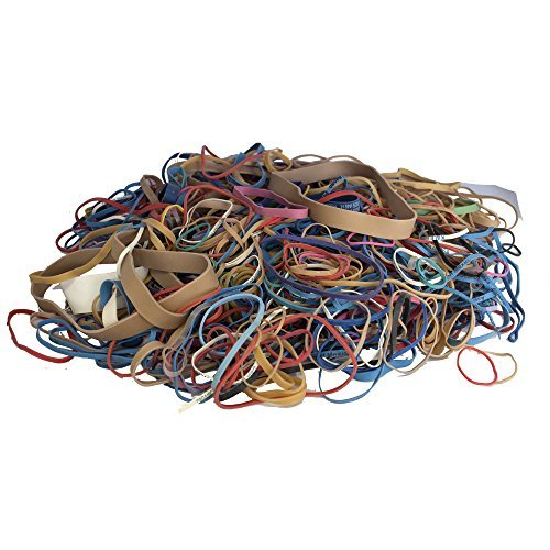 Alliance Rubber Bands, Assorted Large, Medium, Small Sizes & Thickness, Assorted Colored Elastic Bands (1 Pound) ()