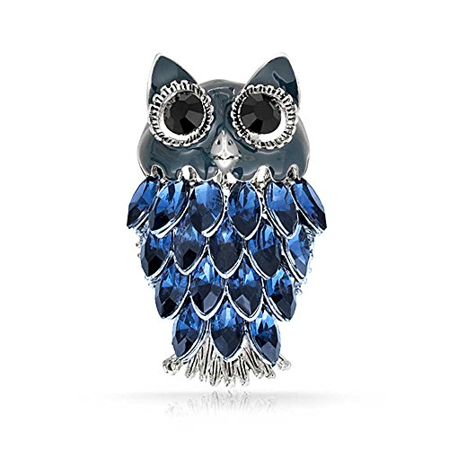 Bling Jewelry Simulated Sapphire Crystal Owl Rhodium Plated Brooch - Pin Plated Brooch