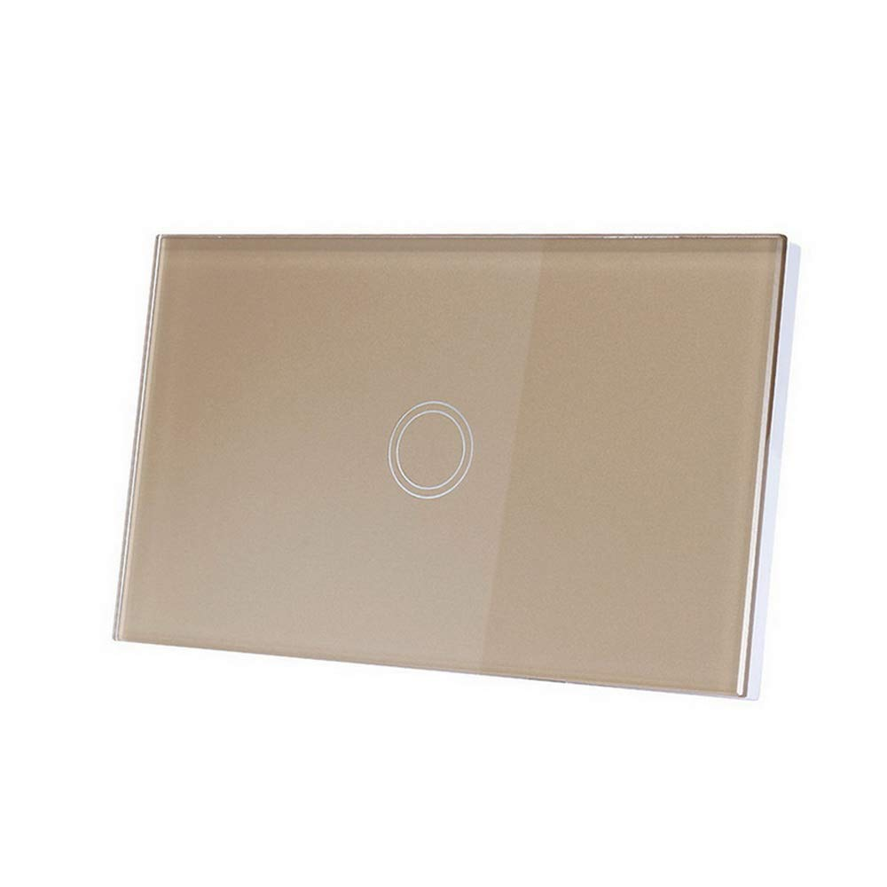 Godagoda US Standard Touch Screen Switch 1/2/3 Gang 1 Way White/Black/Gold Wall Light Touch Switch Crystal Glass Switch Panel