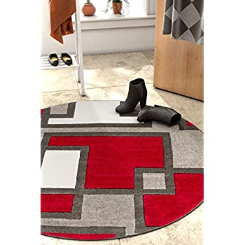 "Uptown Squares Red Grey Modern Geometric Comfy Casual Hand Carved 5 Round (53"" Round) Area Rug Easy to Clean Stain Fade Resistant Abstract Boxes Contemporary Thick Soft Plush Living Dining Room Rug"