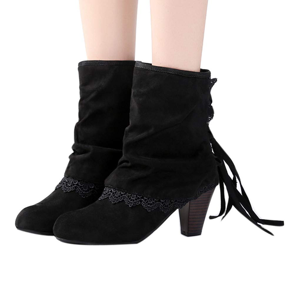 Shybuy Women's Fashion Lace Design Closed Toe Tassel Chunky Block Mid Heel Ankle Bootie with Fringe