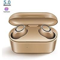 Auriculares Bluetooth, MCSWKEY Mini Audífonos Inalámbricos Hi-Fi Estéreo in Ear Audífonos Bluetooth 5.0 Manos Libres con Micrófono Dual incorporados con Caja de Carga Magnetica de Carga para iPhone y Android (Gold)