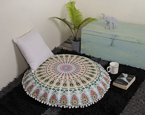 "Popular Handicrafts Large Ombre Mandala Round Hippie Floor Pillow - Cushion - Pouf Cover Bohemian Yoga Decor Floor Cushion Case - 32"" Multicolor"