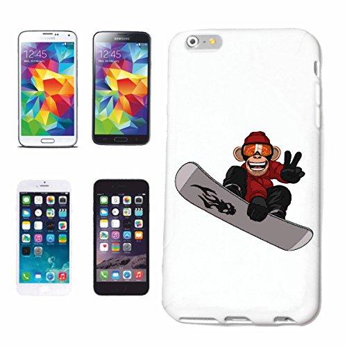 """cas de téléphone iPhone 6+ Plus """"SINGE EN SNOWBOARD SNOWBOARD CHIMPANZEE SNOWBOARDERS SNOWBOARDER WINTER SPORT PISTES"""" Hard Case Cover Téléphone Covers Smart Cover pour Apple iPhone en blanc"""