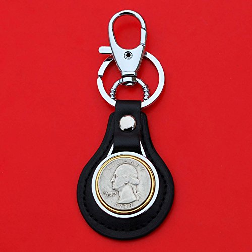 US 1939 Washington Quarter 90% Silver Coin Gold Silver Two Tone Leather Key Chain Ring NEW (Silver Quarter Key)
