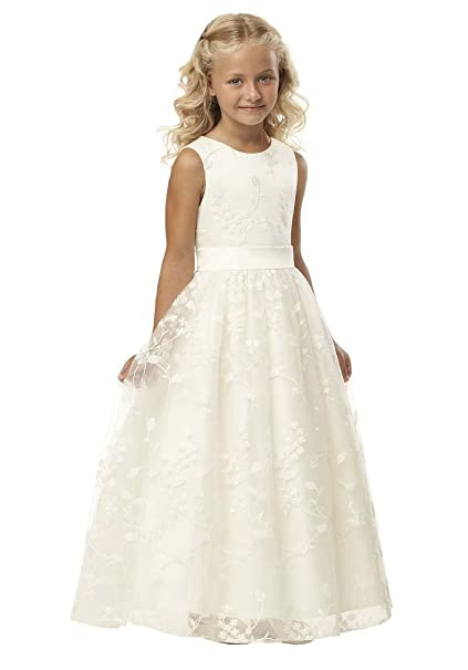 26bb70f2966 SlenyuBridal Holy First Communion Dresses Lace Flower Girl Dress for  Pageant Ivory Size 2
