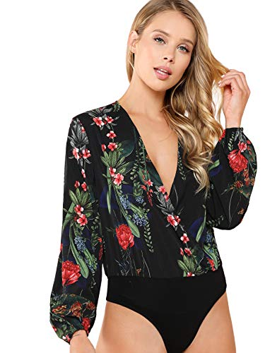 (Verdusa Women's Long Sleeve Wrap V-Neck Leotard Blouse Bodysuit Floral Black S)