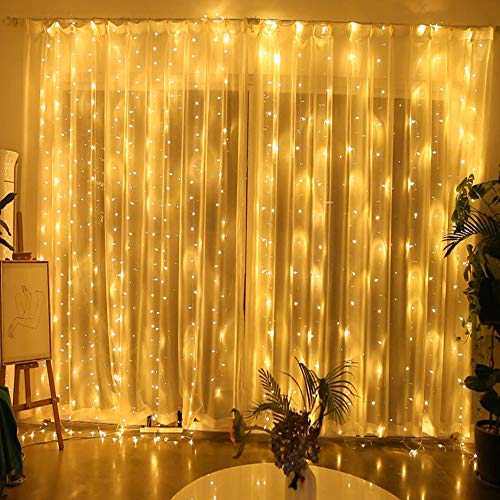 Y YUEGANG 300 LED Window Curtain Lights, Outdoor Twinkle String of Lights, Lights for Bedroom Warm White Fairy Lights for Indoor Wall Decor, Holiday Party Birthday Wedding Christmas Decorations